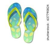 pair of flip flops isolated on... | Shutterstock .eps vector #637790824