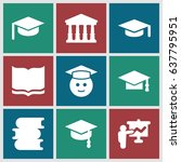 university icons set. set of 9... | Shutterstock .eps vector #637795951