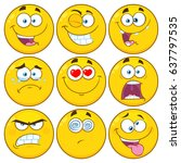 funny yellow cartoon emoji face ... | Shutterstock .eps vector #637797535