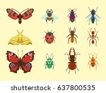 colorful insects icons isolated ... | Shutterstock .eps vector #637800535
