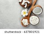 wooden spoon with fresh coconut ... | Shutterstock . vector #637801921