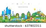 ecology concept. green... | Shutterstock .eps vector #637802311