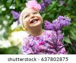 beautiful little girl playing...   Shutterstock . vector #637802875