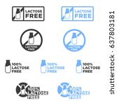 lactose free icons set. vector...   Shutterstock .eps vector #637803181