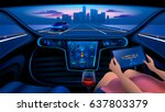 autonomous smart car interior.... | Shutterstock .eps vector #637803379