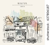 Nagpur, Maharashtra, India. Street in Muslim quarter. Tuk tuk (auto rickshaw), food market, old houses, trees. Travel sketch. Vintage hand drawn postcard or poster template. Vector illustration