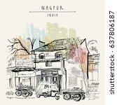Nagpur, Maharashtra, India. Street in Muslim quarter. Tuk tuk (auto rickshaw), food market, old houses, trees. Travel sketch. Vintage hand drawn postcard or poster template. Vector illustration