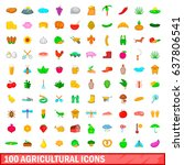 100 agricultural icons set in... | Shutterstock .eps vector #637806541