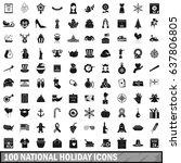 100 national holiday icons set...