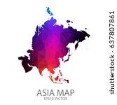 asia map polygon vector | Shutterstock .eps vector #637807861