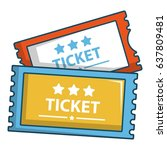 cinema tickets icon. cartoon... | Shutterstock .eps vector #637809481