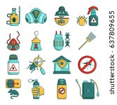 pest control tools icons set.... | Shutterstock .eps vector #637809655