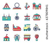 amusement park icons set.... | Shutterstock .eps vector #637809841