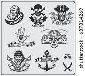 set of pirate labels  emblems ... | Shutterstock .eps vector #637814269
