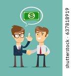 two businessmen shaking hands... | Shutterstock .eps vector #637818919