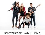 young rock and roll band... | Shutterstock . vector #637824475