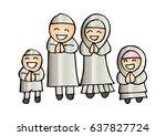 muslim family cartoon | Shutterstock .eps vector #637827724
