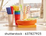 colorful plastic ware for... | Shutterstock . vector #637827925
