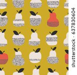 seamless pattern with apples ... | Shutterstock .eps vector #637830604