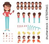 front  side  back view animated ... | Shutterstock .eps vector #637839661