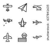 aviation icons set. set of 9... | Shutterstock .eps vector #637841635
