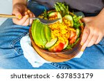 child is eating a healthy salad ... | Shutterstock . vector #637853179