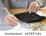 woman filling individual income ... | Shutterstock . vector #637857181
