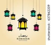 illustration of ramadan kareem... | Shutterstock .eps vector #637862209