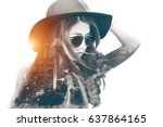 double exposure beautiful girl... | Shutterstock . vector #637864165