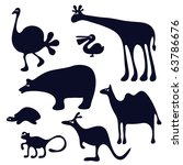 funny animals silhouette | Shutterstock .eps vector #63786676