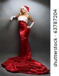 Beauty Blonde Girl In Santa Ha...