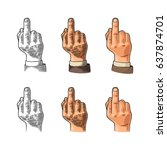 middle finger sign by male hand.... | Shutterstock .eps vector #637874701