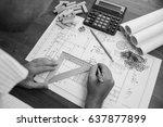 mechanical engineer at work.... | Shutterstock . vector #637877899