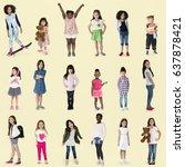diverse of young girls children ... | Shutterstock . vector #637878421