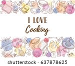 i love cooking. baking tools in ... | Shutterstock .eps vector #637878625