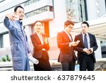 beautiful young business people ... | Shutterstock . vector #637879645