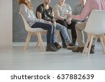 group therapy for teenagers... | Shutterstock . vector #637882639
