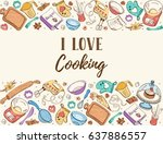 i love cooking. baking tools in ... | Shutterstock .eps vector #637886557