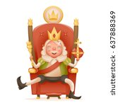 cute cheerful king ruler on... | Shutterstock .eps vector #637888369