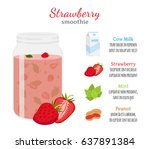 strawberry smoothie  organic... | Shutterstock .eps vector #637891384