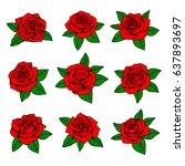 red roses with green leaves...   Shutterstock .eps vector #637893697