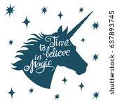 inspiring unicorn silhouette... | Shutterstock .eps vector #637893745