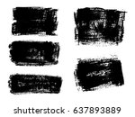 set of black paint  ink brush... | Shutterstock .eps vector #637893889