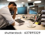 restless businessman with head... | Shutterstock . vector #637895329