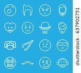 facial icons set. set of 16... | Shutterstock .eps vector #637902751