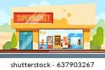 supermarket in front view with... | Shutterstock .eps vector #637903267
