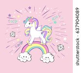 unicorn pop art on the pink... | Shutterstock .eps vector #637904089
