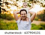 funny little girl sits on... | Shutterstock . vector #637904131