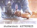 hand pressing modern social... | Shutterstock . vector #637909825