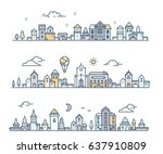 set of urban european city with ... | Shutterstock .eps vector #637910809